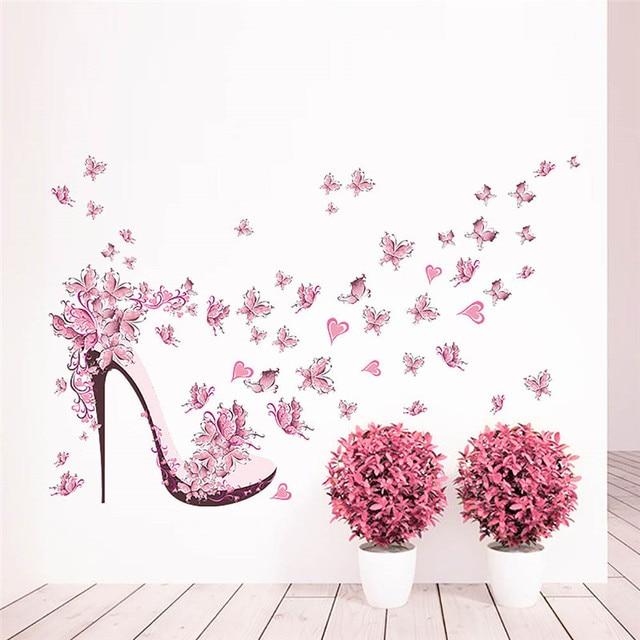 49ec8ef7cbc978 Amovible rose chaussures à talons hauts avec papillon vinyle Sticker mural  maison décalcomanie Stickers muraux décoration