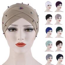 Casquette chimio pour femmes musulmanes, Turban indien, perles croisées, Cancer, perte de cheveux, couverture de Bonnet à la mode, foulard Turban