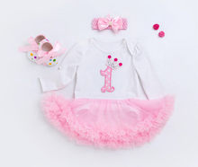 Baby Girl Clothes Sets Birthday Gifts Kids Long Sleeve Dresses Headband Shoes Clotheing Set Spring Infant Newborn Wedding Outfit(China)