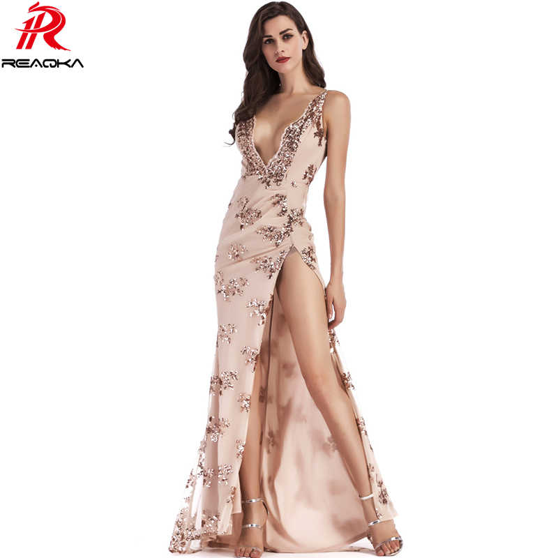 39e92c6ab59b8 Sexy Women maxi Sequins summer dress elegant Black gold pink casual beach V  neck Backless luxury Party dresses Long vestidos New