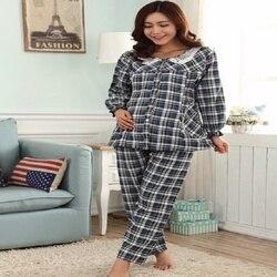 2019 Новый 8819 беременных женщин плед печати хлопок костюм, беременных женщин дома случайный и удобный костюм