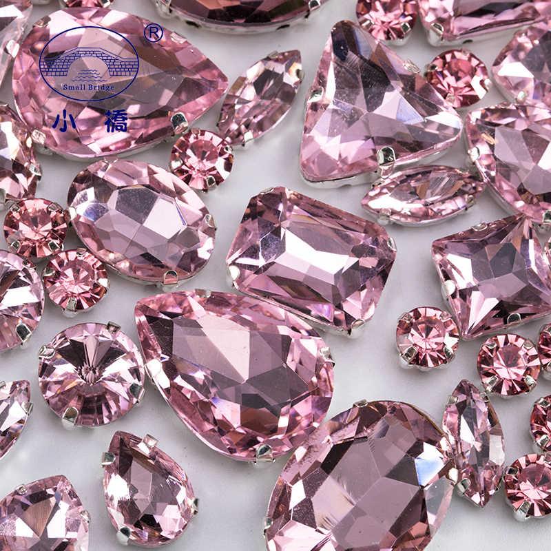Brillantina, diamantes de imitación de cristal de forma mixta para ropa, piedras preciosas de manualidades planas rosas, cristal con garra diamantes de imitación para coser, 50 unids/pack S048