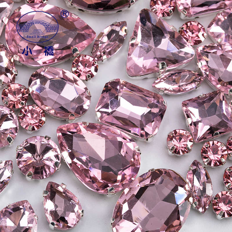 Glitter Mixed Shape Glass Rhinestones For Clothes Pink Flatback Craft Gems Crystal Sew On Rhinestone With Claw 50PCS/PACK S048