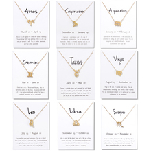 2019 New 12 Constellation Necklace Pisces Aquarius Aries Capricorn Choker Birthday Gifts Pendant Necklace White Card Jewelry stylish lucky clover constellation style pendant necklace aries