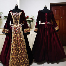 купить New red Vintage costumes 18th Duchess Retro medieval Renaissance Reenactment Theatre Civil war Victorian dress D-295 дешево