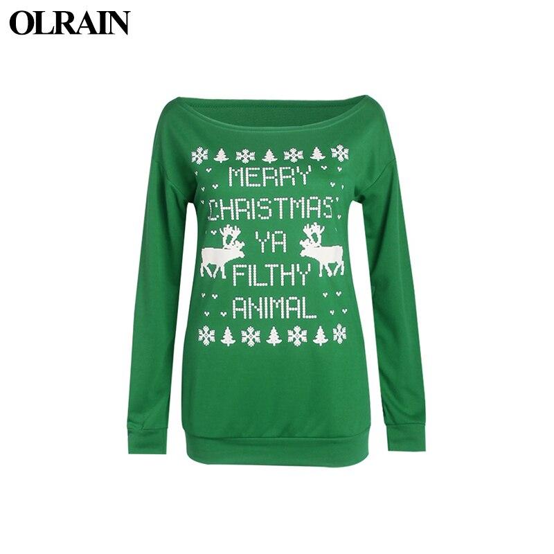Olrain 2017 New Casual Tops Women Sweatshirt Christmas Tree Theme Pattern Pullover Hoodies Long Sleeved Sweater Sweatshirt