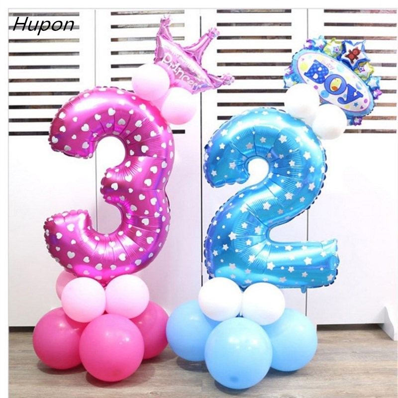 32inch Pink Blue Digit helium balloon Baby Shower 0-9 Number foil balloons Party Birthday Wedding Decoration Globas Toys Balony