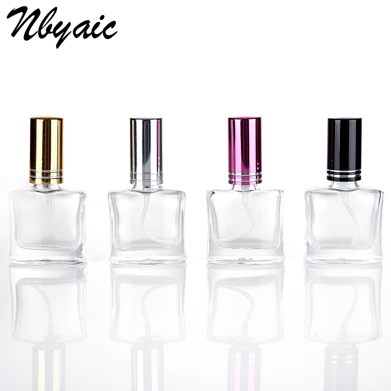 Nbyaic 100Pcs 12ml 7-Color Promotional Mini Bottle Amber Small Cosmetics Black Hat Spray Can Reusable Square Shape