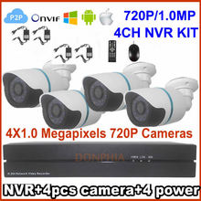 4CH NVR CCTV Camera System Surveillance Kit 4pcsx HD Outdoor Day Night Vision Fixed Bullet Cameras 1280×720 MegaPixels H.264