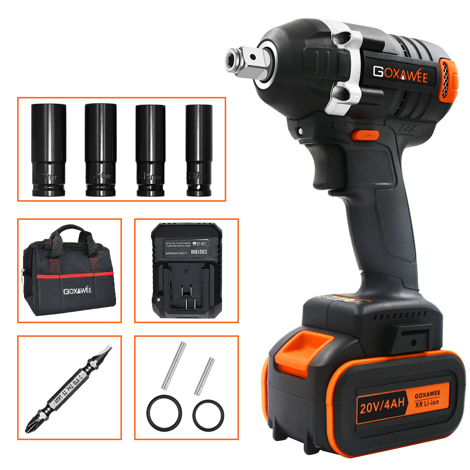 GOXAWEE 20V Brushless Cordless Electric Wrench Impact Driver Socket Wrench 4000mAh Battery Hand Drill Installation Power