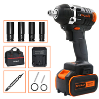 GOXAWEE 20V Brushless Cordless Electric Wrench Impact Driver Socket Wrench 4000mAh Battery Hand Drill Installation Power Tools