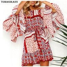 Boho Floral Print Chiffon Mini Dress 2019 Summer Slash Neck Flare Sleeve Ruffles Sundress Ladies Sexy Off Shoulder Beach Dresses