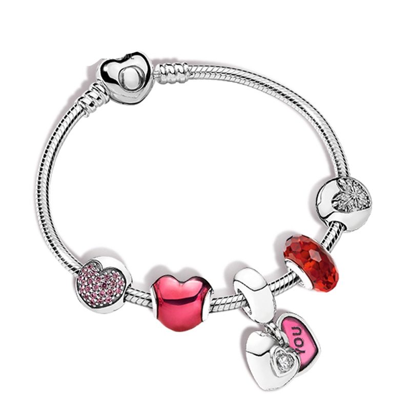 NEW 100% 925 Sterling Silver New 1:1 Heart Rhyme ZT0186 String Jewelry Fashion Bracelet Set Womens Charming Gift JewelryNEW 100% 925 Sterling Silver New 1:1 Heart Rhyme ZT0186 String Jewelry Fashion Bracelet Set Womens Charming Gift Jewelry