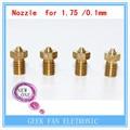 5 pcs NOVOS ITENS FRETE GRÁTIS impressora 3D 3D V6 & V5 J-extrusora bocal Da Cabeça de bronze bicos 0.1mm Para 1.75mm suprimentos