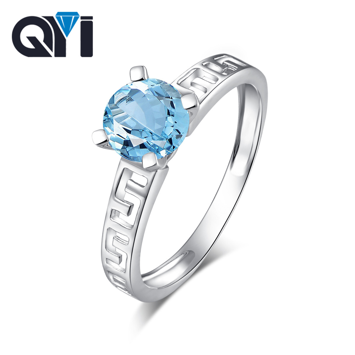 Qyi Classic Sky Blue Stone Natural Topaz 925 Sterling Silver Round Rings For Women Fine Jewelry Engagement Fashion Accessories To Be Renowned Both At Home And Abroad For Exquisite Workmanship Rings Fine Jewelry Skillful Knitting And Elegant Design