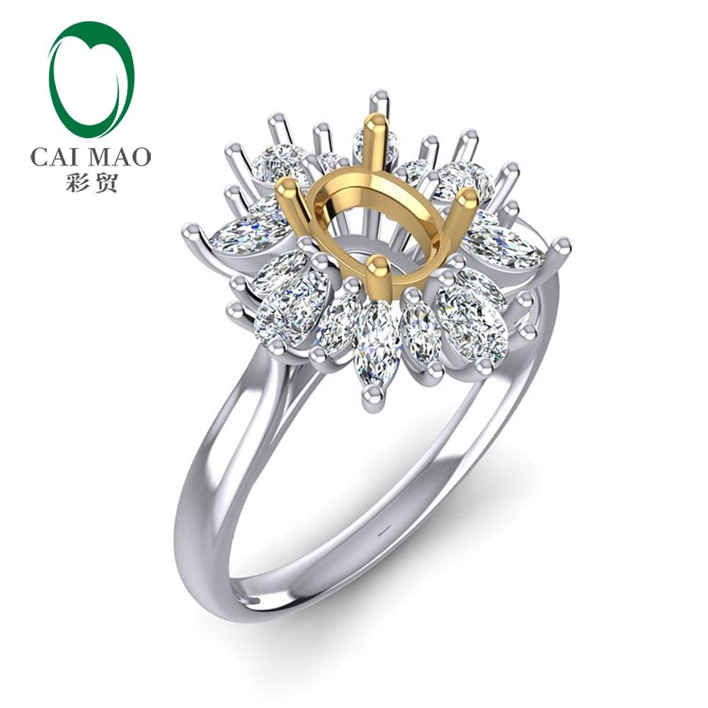 Caimao 0.92ct Marquise et diamant rond 5x7mm taille ovale 14k bague en or blanc et jaune