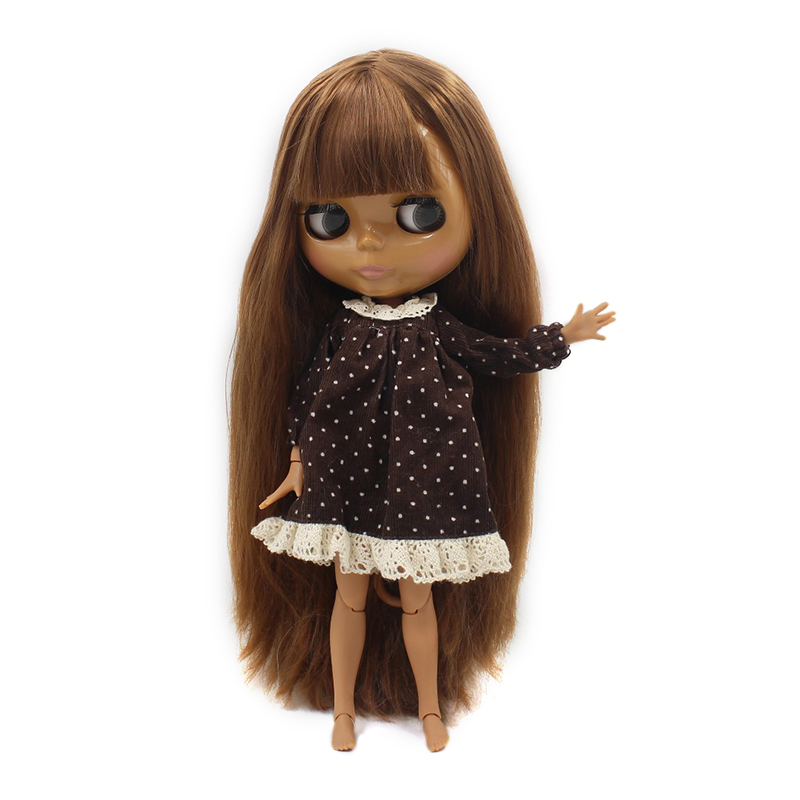 Free shipping ICY blyth doll brown hair with fringes bangs dark skin joint body BL0543 girl
