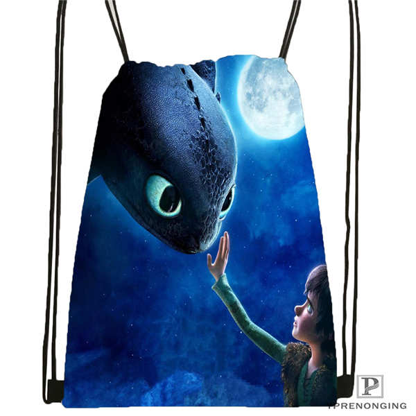 Custom how to train your dragon Drawstring Backpack Bag Cute Daypack Kids Satchel Black Back 31x40cm