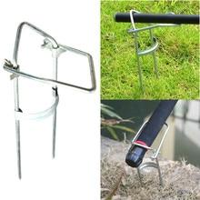 Silver Portable Adjustable Bracket Fishing Rod Pole Stand Holder Fishi