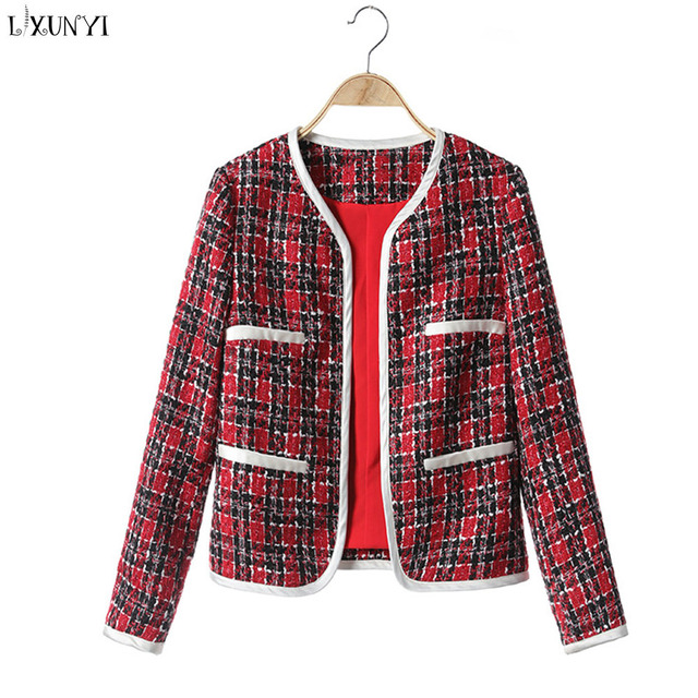 Lxunyi Autumn Ladies Plaid Tweed Jackets Women Fashion O Neck Runway Small Sweet Long Sleeve Blazer Coat Female Red
