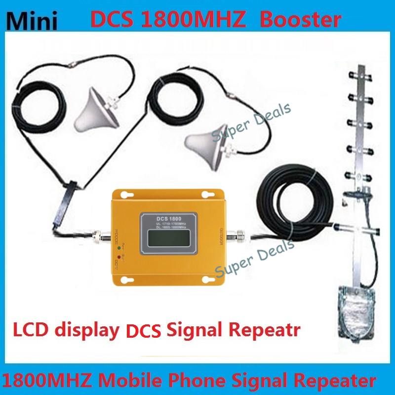 Display LCD! Mini 4G LTE FDD DCS 1800 MHZ celular repetidor de sinal, celular signal booster + 2 antenas de teto para casa/escritório