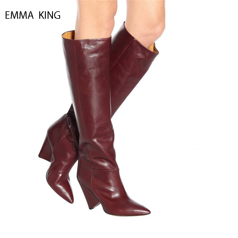 Autumn Winter Fashion Solid Colors Spike Heels Knee High Boots Zapatos De Mujer Pointed Toe High Heels Shoes Woman Long ShoesAutumn Winter Fashion Solid Colors Spike Heels Knee High Boots Zapatos De Mujer Pointed Toe High Heels Shoes Woman Long Shoes
