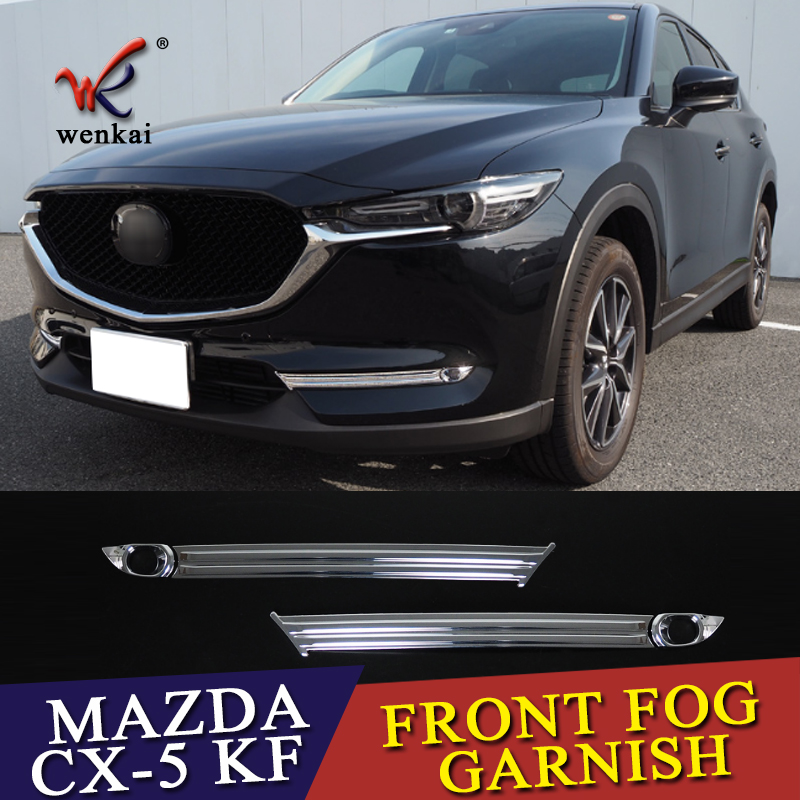 цена ABS Chrome Front Fog Lamps Cover Trim Fog Lamp Shade Trim for Mazda CX5 CX 5 CX-5 KF 2017 2018 Car Accessories Styling