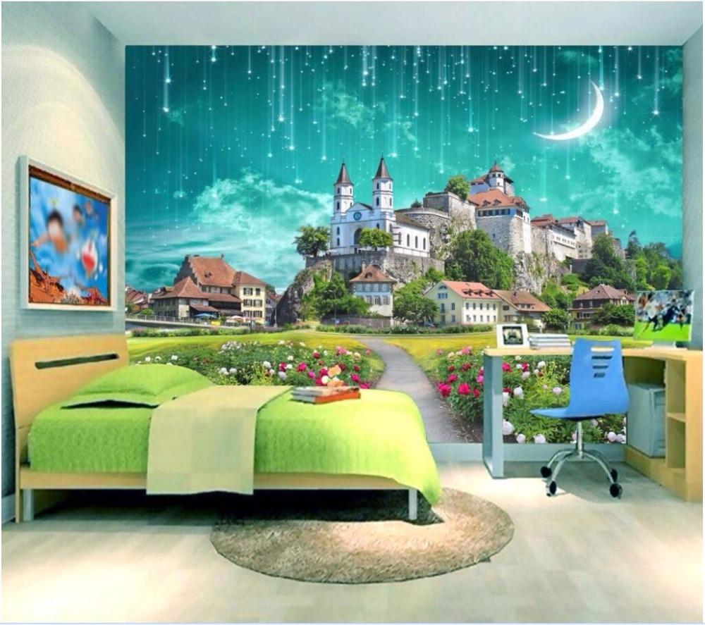 3d wall murals wallpaper for living room walls 3 d photo wallpaper Dream castle meteor shower decor Custom mural painting