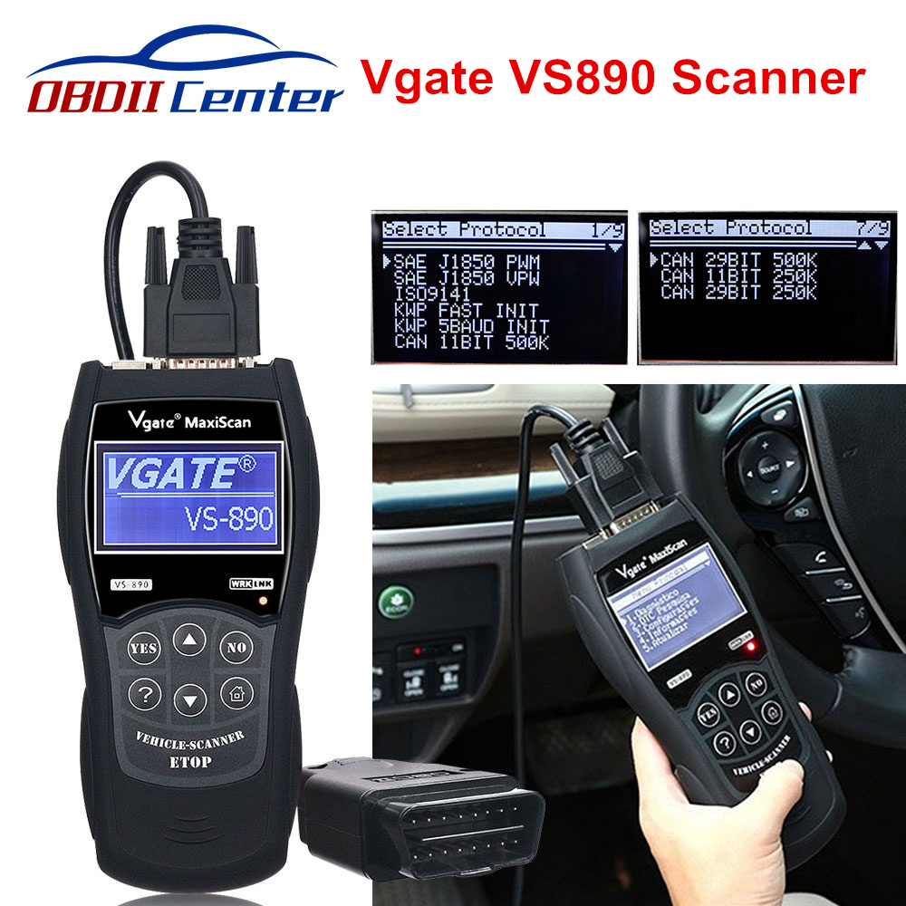 Vgate VS890 Car Diagnostic Scanner OBD2 Auto Code Reader Maxiscan VS 890 VS890S ObdII Scanner VS-890 Support Multi-brands Cars