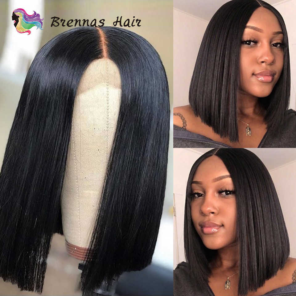 Short Bob Wig Malaysian Straight 13*4 Lace Front Human Hair Wigs With Pre Plucked With Baby Hair Remy Lace Wig For Black Women