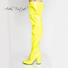 a732b250c9348 Arden Furtado Otoño Invierno sobre la rodilla cremallera rojo rosa azul  Amarillo Blanco botas tacones gruesos