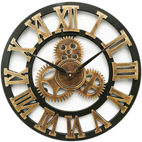 American Retro Wall Clock 58cm Roman Numerals Iron Gear Clocks Wood 3D Clock Living Room Home Decoration Accessories Wall Watch