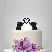 Personalized Cute Elephants Silhouette Wedding Cake Topper with Heart Cake Toppers Wedding Decoration for Bride and Groom Favors