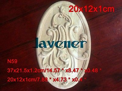 N59 -20x12x1cm Wood Carved Onlay Applique Carpenter Frame Decal Wood Working Carpenter Decoration