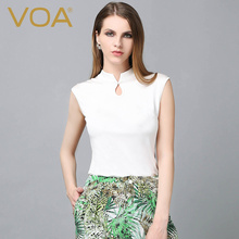 VOA Knitted 100% Silk Shirt Female Short Stand Collar Summer 2017 Style Simple Slim Tops B5802
