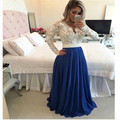 Long Sleeve Beaded White Bodice Royal Blue Chiffon Skirt Long Prom Dress 2017 Vestido De Festa Longo Evening Gown