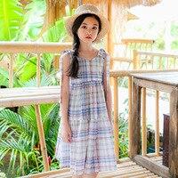 여자 드레스 6-16Y 2018 새로운 여름 민소매 긴 드레스 십대 여자 아이 공주 드레스 6 8 10 12 14 16