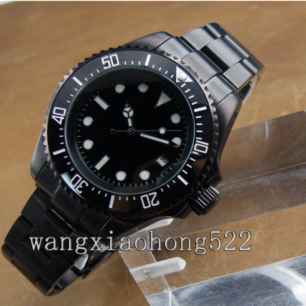 43mm Black PVD Case mechanical Ceramic Bezel sapphire glass Automatic watch цена