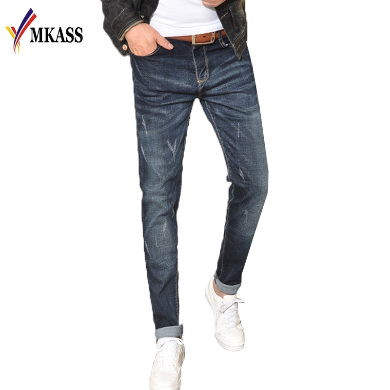 2017 New Arrival Spring Autumn Brand Men Jeans Han Edition Slim Fit Style Little Feet Male Jeans Mens Ripped Jeans Plus Size 38 bts v fashion k pop punk iron hole hats adjustable baseball cap