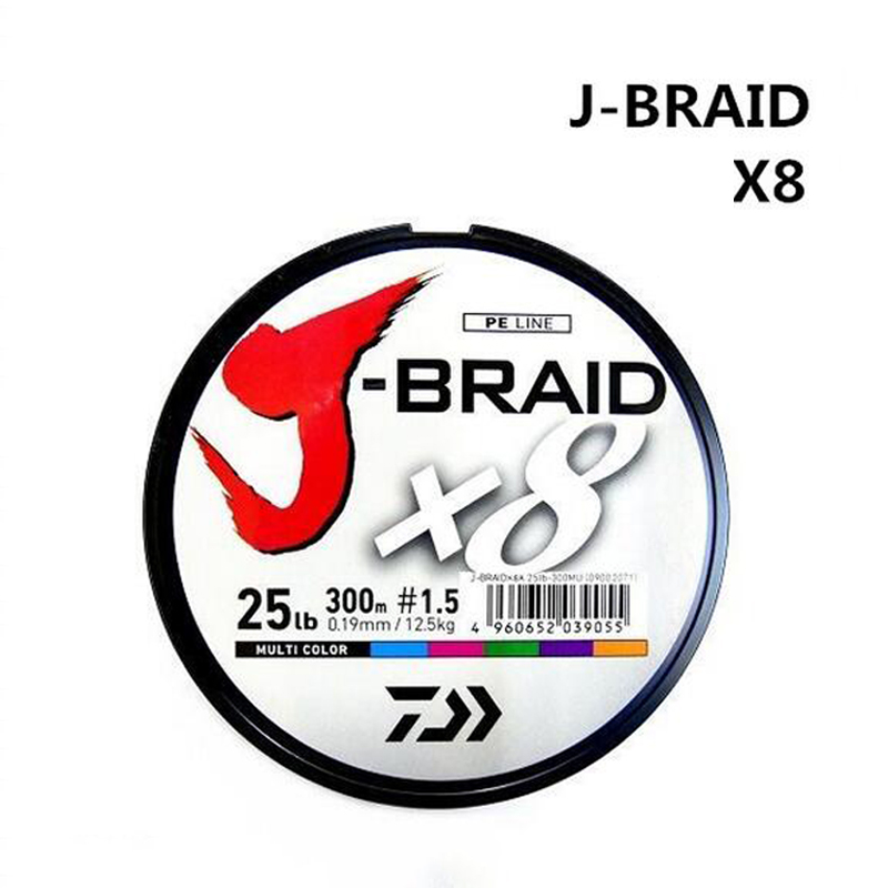 DAIWA Fishing Line J-Braid 300M PE Fishing Line 30-100LB Japan PE Line Braided Fishing Line