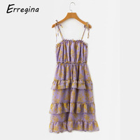 Erregina Spaghetti Strap Backless Sexy Dress Party Off Shoulder Summer Maxi Ruffles Dress Bodycon Party Cupcake Dress Women
