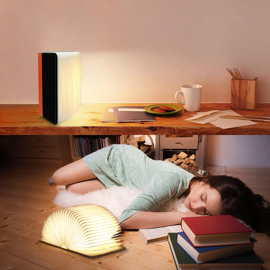 Thrisdar LED Novelty Two-color Book Lamp Home Lighting Atmosphere Night Light USB Power Supply For Bedroom Study Hotel