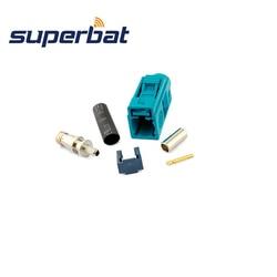 Superbat 10 stücke Auto Radio GPS Antenne Stecker Fakra Z Waterblue/5021 Neutral Codierung Weibliche Crimp für RG316 RG174 LMR100 Kabel