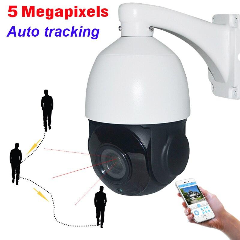 IP66 5MP Auto Tracking PTZ Câmera de CCTV Ao Ar Livre de Alta Velocidade 5 30X H.265 Megapixels Rede IP Câmera IR Auto Rastreador ZOOM IP66 P2P