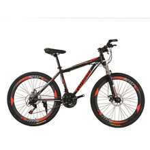 Mountain bike 24-inch 26-inch steel shock absorption 21-speed 24-speed 27-speed Aluminum alloy mountain bikes Variable speed bic cheap Unisex 24 Speed Spring Fork (Low Gear Non-damping) 140-185cm Ordinary Pedal 150kg Hard Frame (Non-rear Damper) Double Disc Brake