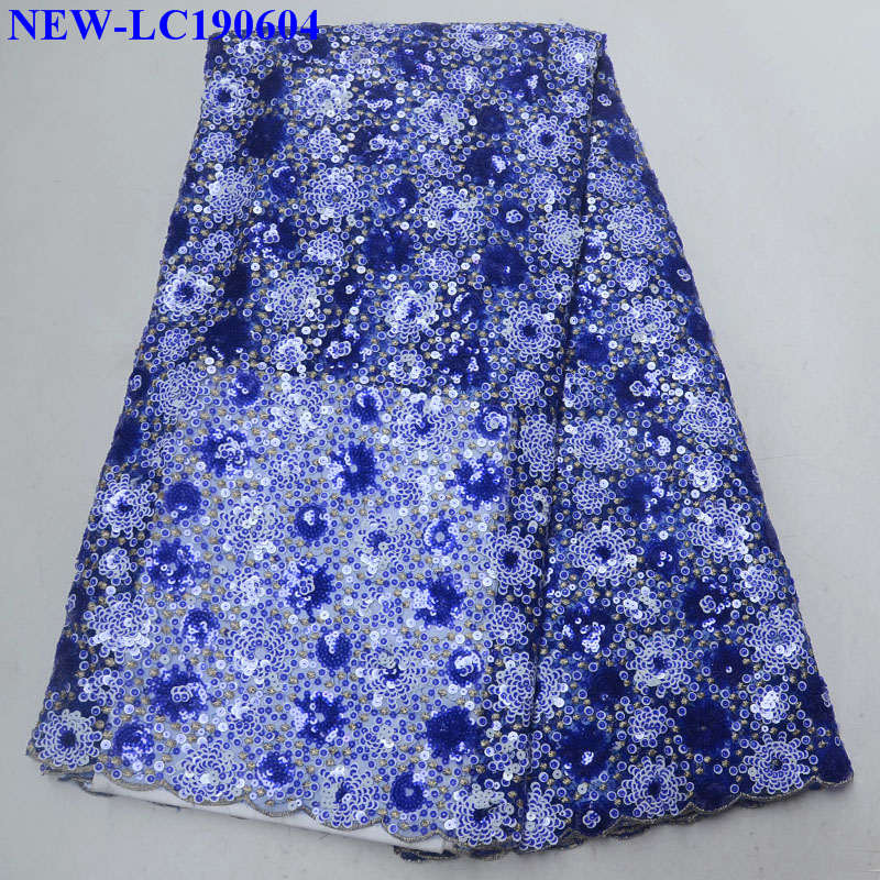 Sequins Lace Fabric High Quality Latest African french tulle lace fabrics 2019 French Net African Lace