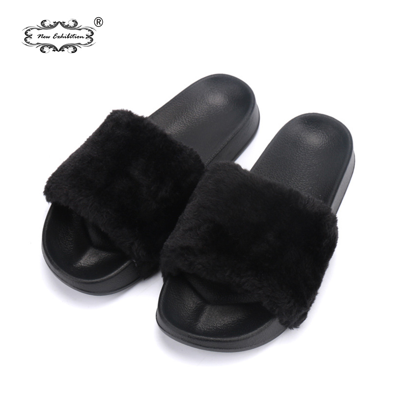 N ew Exposition femmes chaussures plataformas mujer verano pantoufles En Peluche fausse fourrure Diapositives tongs Chaussures Plates sandales De Plage 36 -40