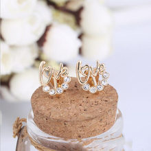 Korea Style Fashion Cute Love Letter Full Rhinestone Clip on Earring Cushions Earrings for Girls Baby Without Pierced Ear Clip(China)