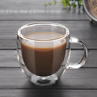 Double Wall Glass Coffee Tea Cup New Heat resistant Double Layer Glass Handle Coffee Cup|Coffee Cups & Mugs| |  -