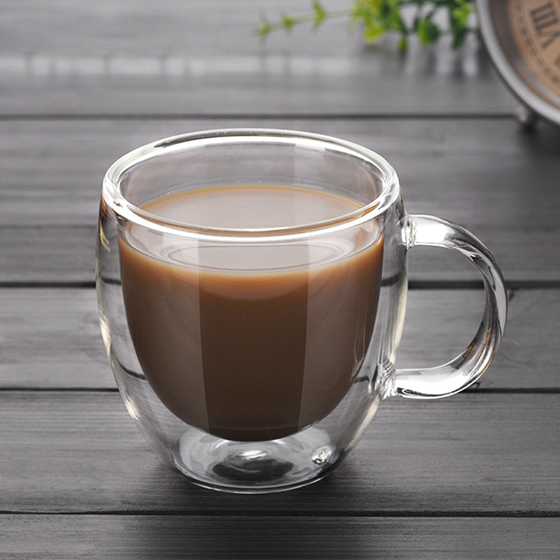 New Double Wall Glass Coffee Tea Cup New Heat-resistant Double Layer Glass Handle Coffee Cup DA